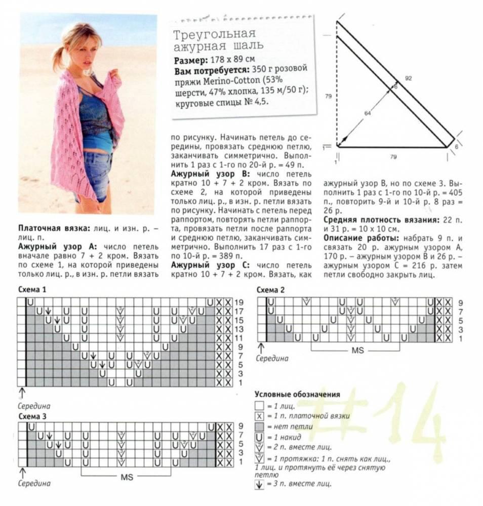 Вязание бактусов и треугольных шалей спицами